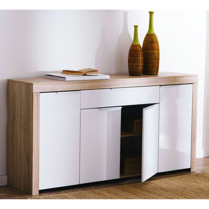 naxis buffet 178cm col ch ne et blanc brillant achat vente buffet bahut naxis enfilade. Black Bedroom Furniture Sets. Home Design Ideas