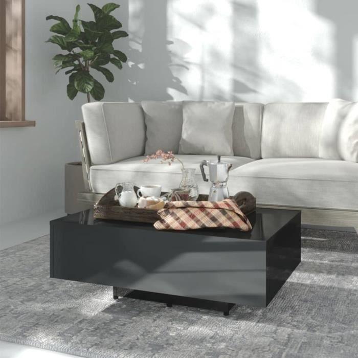 LED-Table basse Noir brillant 85x55x31 cm Aggloméré