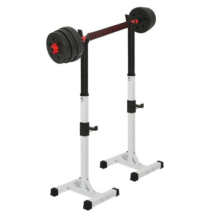 FIRNOSE Support de Squat Support de Musculation Réglable 105-160 cm - Support d'haltère en Acier - Max.150kg - Blanc