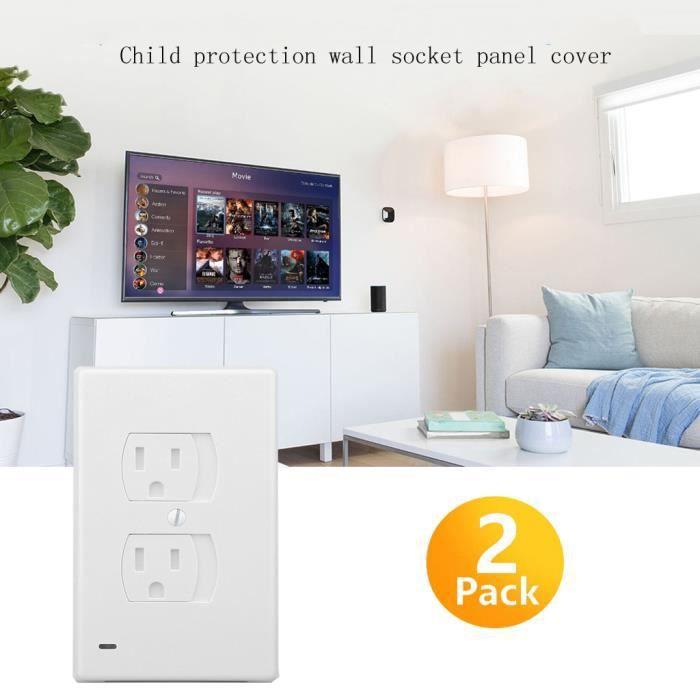 Deux panneaux Prise avec la sécurité des enfants porte et lampe LED d'induction panneaux Socket US @GJZ-lon5822