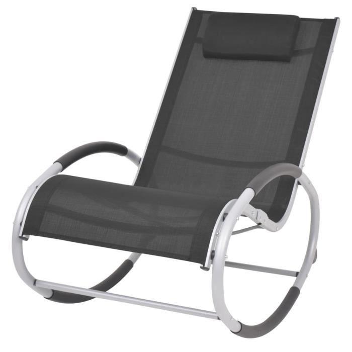 Fauteuil RELAX Chaise à bascule Fauteuil à Bascule d'extérieur Noir Textilène#82452