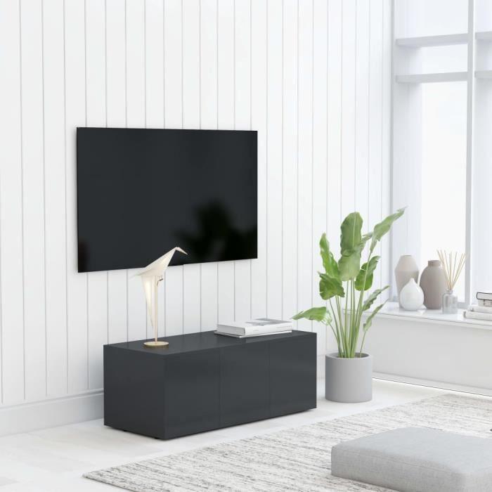 Yoshihiro Meuble TV Gris 80x34x30 cm Aggloméré