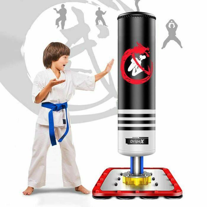Dripex Sac de Frappe sur Pied Boxe Enfant Debout Libre Robuste Sac de Punching Kick Appareil d'entraînement Noir en Cuir ABS Acier