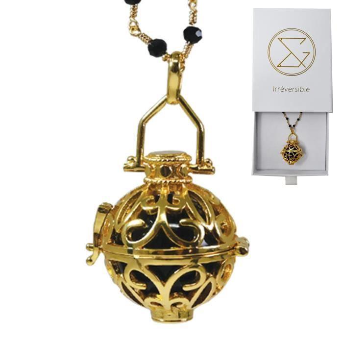 Bola de grossesse cage or avec chaîne - LIA (Chaine perlée noire/bille noire) - plaquée or - coffret cadeau femme enceinte