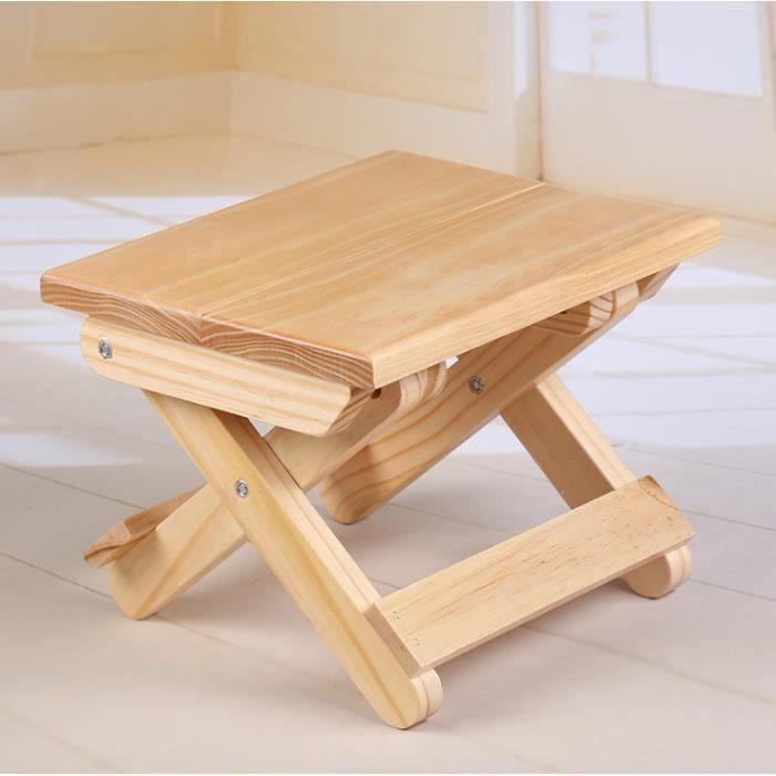 Petit Tabouret portable en bois massif Tabouret de Camping et Voyage Chaise de pêche Pliable Tabouret enfant,19 * 24 * 17.8cm