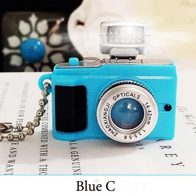 Appareil photo enfant,Caméra LED clignotant jouets pour enfants appareil photo numérique porte clés lumineux son - Type Blue C