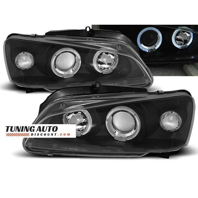 Phares avant Peugeot 106 08.96-03 angel eyes noir