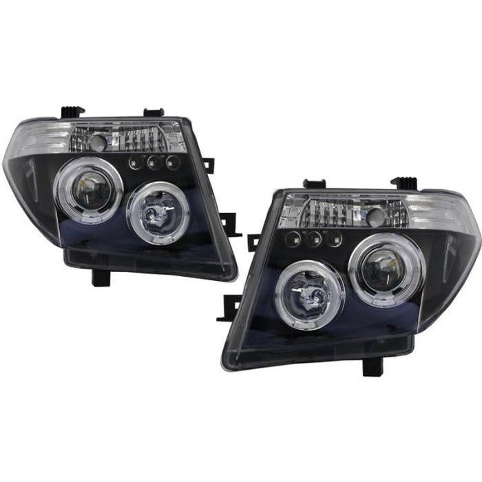 Phares Angel Eyes pour Nissan Navara D40 04-09 / Nissan Pathfinder R51 05-08 Noir