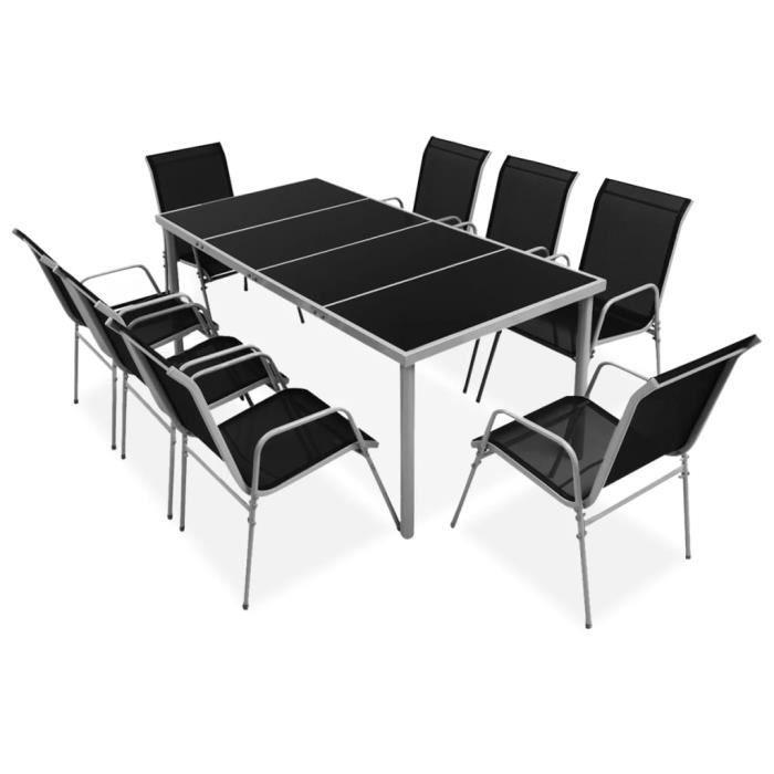 SYMPA©Ensemble table à manger 6 à 8 personnes + 8 chaises contemporain Ensemble repas de jardin Mobilier de jardin Meuble de j🎼7547