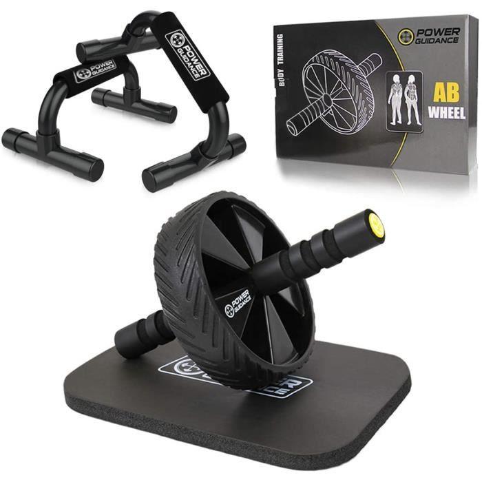 POWER GUIDANCE Roue Abdominale AB Wheel Roller Pro de Fitness et Musculation de Corp-Appareil Abdominal Munit d'Un Tapis Epais pour