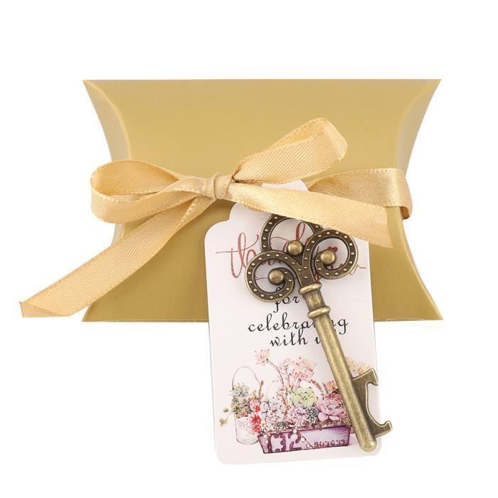 Drfeify ouvre-bouteille de clés vintage Décapsuleur de clés avec étiquettes d'escorte carte ruban de soie cadeau de mariage