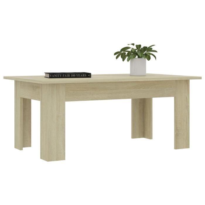 810142 - Design Furniture - Table basse Scandinave - Bout de canapé Table à thé Chêne sonoma 100x60x42 cm Aggloméré