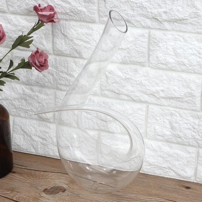 Garosa verseur à vin en verre 1500 ml en forme de 6 carafe de vin rouge Brandy fait à la main en cristal de verre aérateur