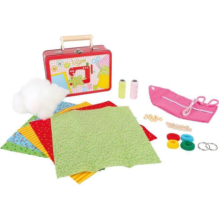 Kits de loisirs créatifs 3921 Valise pour enfant -set de couture-, y compris tissus, ciseaux, aiguilles, boutons et perl 53354