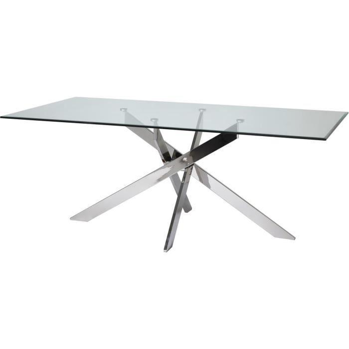 Table à manger en verre - Pieds métal - L 200 x P 100 x H 76 cm - EDEN