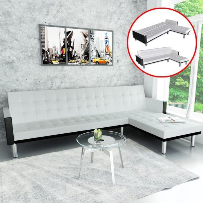 CIKONIELF Canapé-lit d'angle Cuir synthétique Blanc