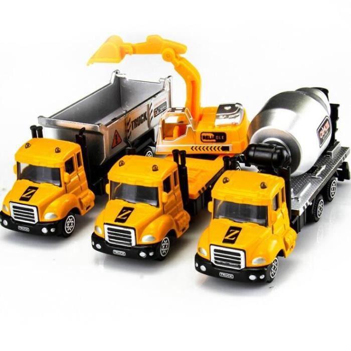 Lot de 3 Camion Voiture de Construction Jouet Engin de Chantier Cadeau pour Enfant