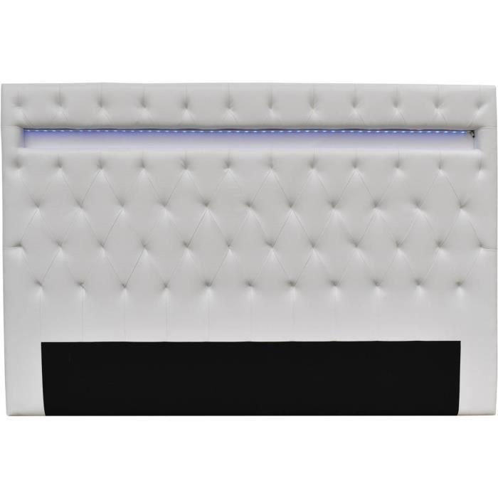 Tête de lit -Déco- LED - 180 x 200 cm - Blanc