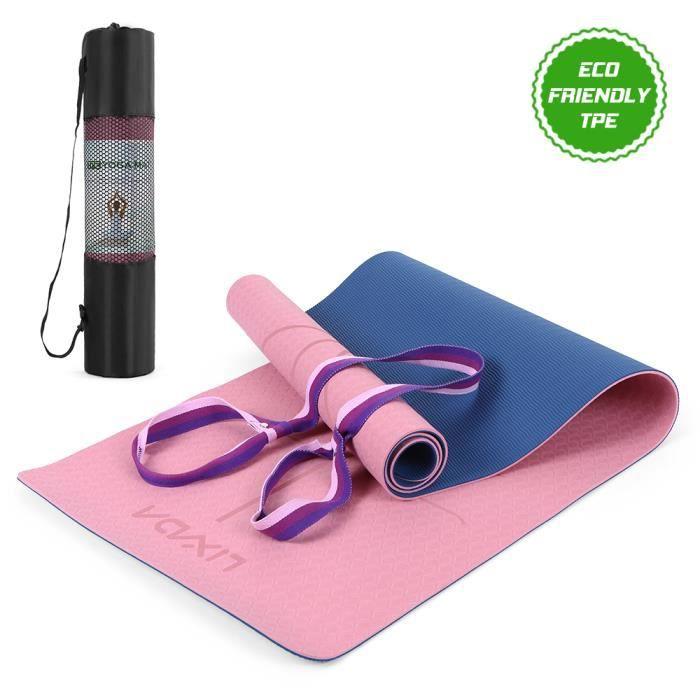 Tapis d'exercice léger écologique TPE certifié TPE pour tapis de yoga non-glissant avec lignes d'alignement du corps, cour-9