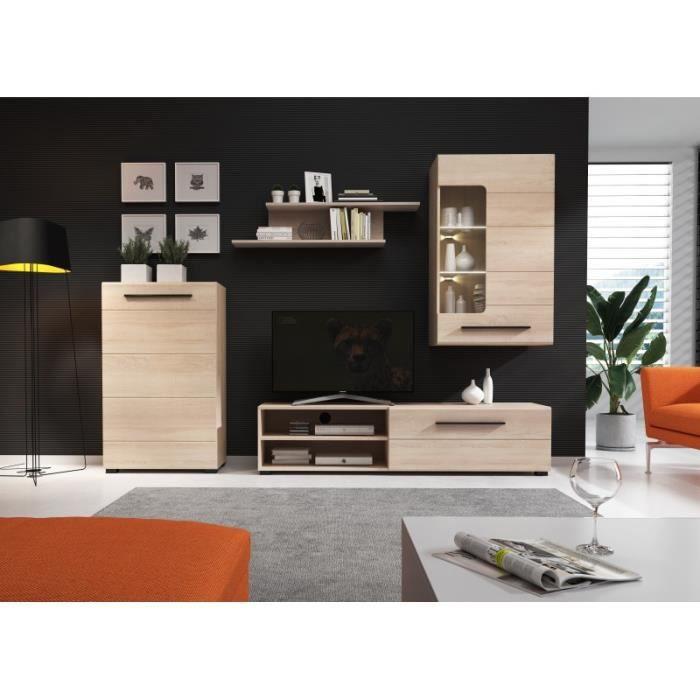 Ensemble meuble TV BRITTA sonoma avec LED