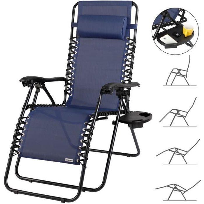 Chaise longue luxueuse bleu haut dossier réglable détente relaxation jardin