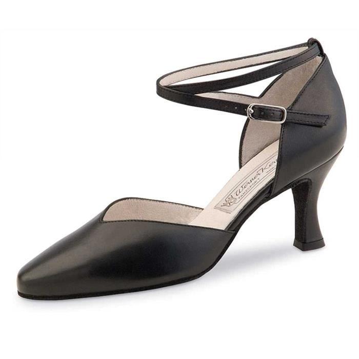 Sandale De Randonnee USF89 Chaussures de danse Betty 6.5 - Cuir noir - 6,5 cm - Made in Italy Taille-37 1/2