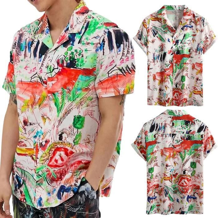 Cardigan à manches courtes pour hommes Chemise de plage Multicolore6554