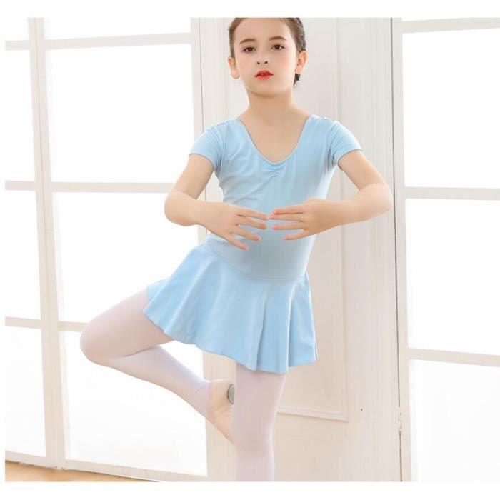 Robe de Ballet Justaucorps Coton Danse Gymnastique Costume Danse Tutu Robe col en V Mignon pour Filles Enfants Enfant
