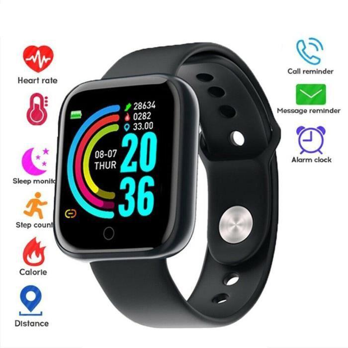 petrichorr Noir Montre intelligente de sport surveillance de la fréquence cardiaque Tracker de remise en forme