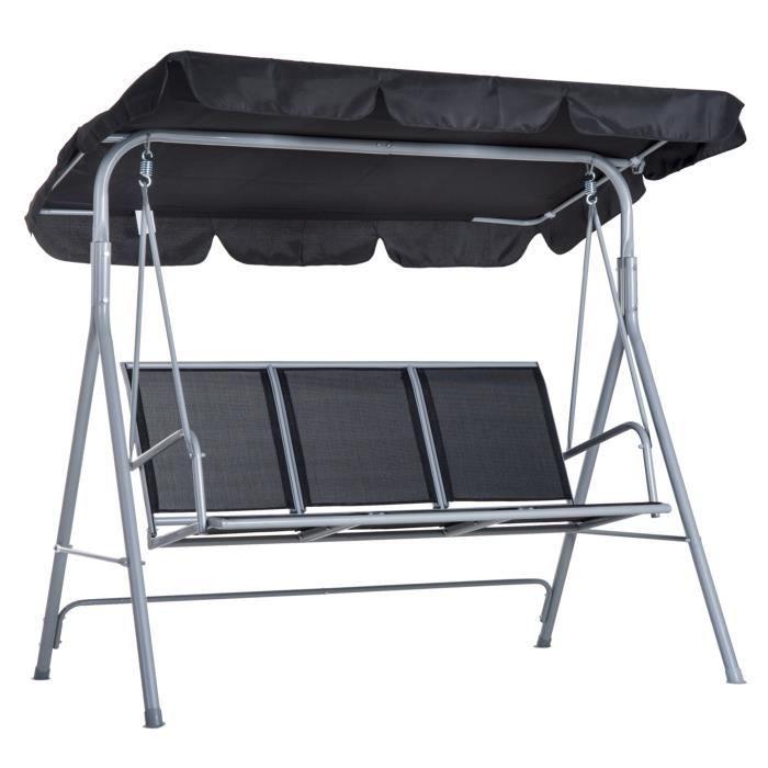 Balancelle de jardin 3 places grand confort toit imperméabilisé inclinaison réglable assise et dossier ergonomique 1,7L x 1,1l x