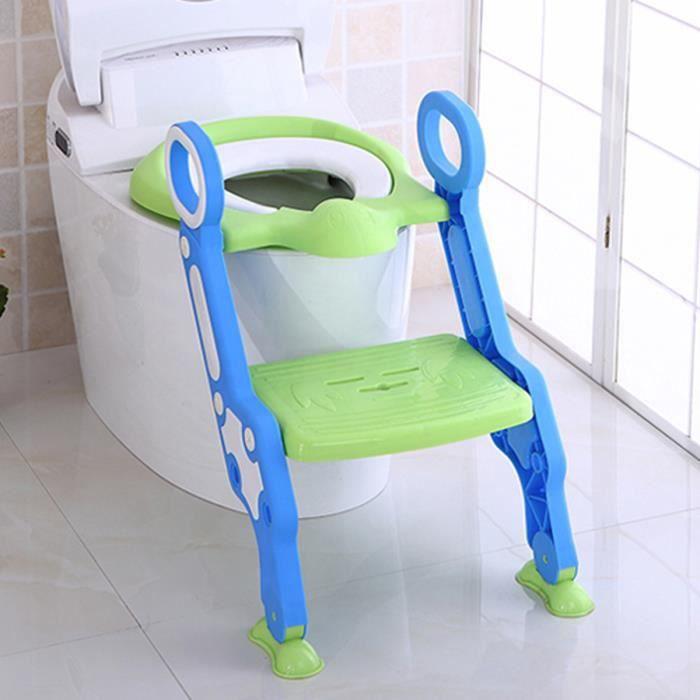 SUPER Réducteur de WC Siège Toilettes Enfant Bébé Pliable VERT BLEU