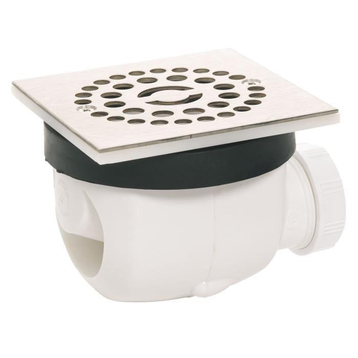 WIRQUIN Bonde de douche D90 Twisto à débit rapide avec grille en inox Carree
