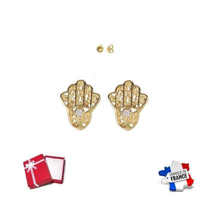Boucles oreille Main de FATMA en Plaque or /& ZIRCO NEUF