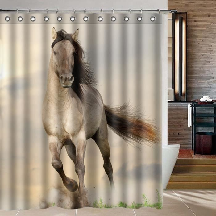 01136yl 5 Running Horse Shower Curtain Waterproof Bathroom Product Home Decor With 12 Hooks