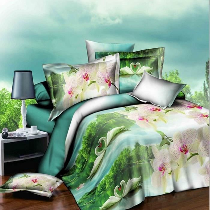 housse de couette 3d cygne parure de lit adulte bedding. Black Bedroom Furniture Sets. Home Design Ideas