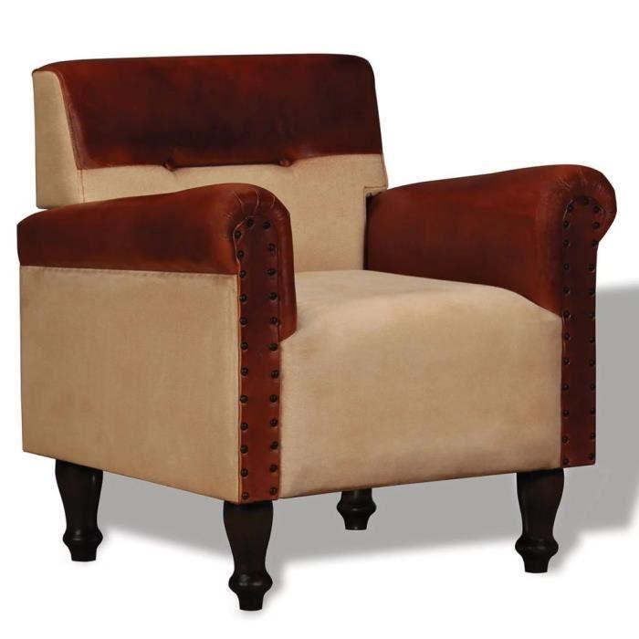 Fauteuil chaise siège lounge design club sofa salon cuir véritable et tissu  marron et beige 1102112/2