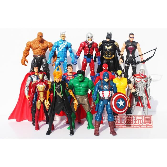 14 pi ces figurines super hero marvel avengers batman iron man thor hulk spiderman jouet 18cm. Black Bedroom Furniture Sets. Home Design Ideas