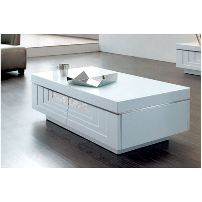 Table basse laqu e blanche hudson achat vente table for Table basse blanche design