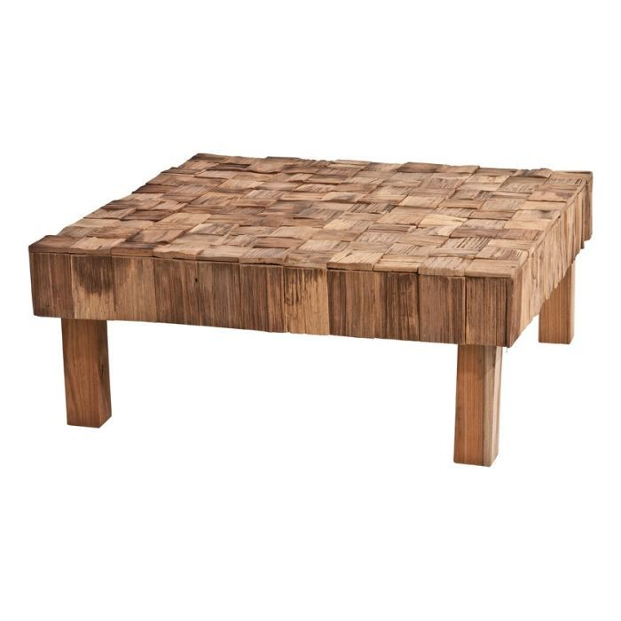 table basse carr en rondins de teck nature inwood achat. Black Bedroom Furniture Sets. Home Design Ideas