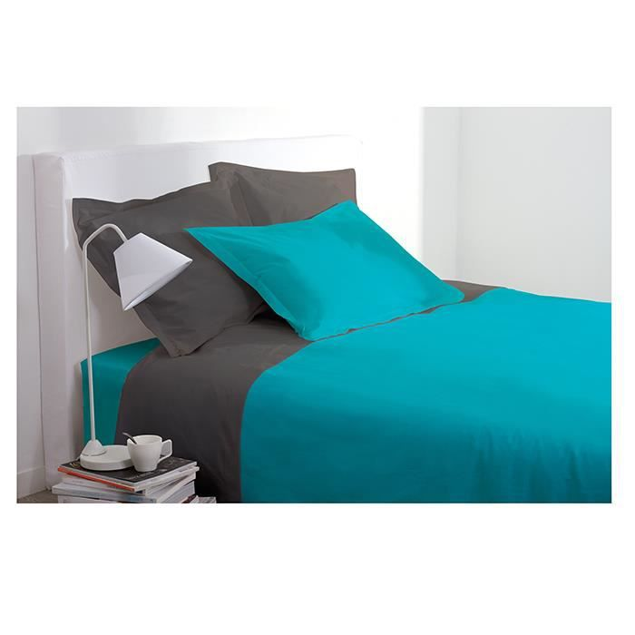 drap plat 1 personne 180x290 cm 100 coton turquoise achat vente drap plat cdiscount. Black Bedroom Furniture Sets. Home Design Ideas
