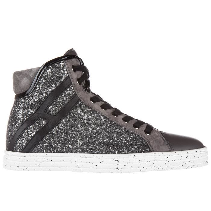 Chaussures baskets sneakers hautes femme en cuir r182 colletto imbottito Hogan Rebel