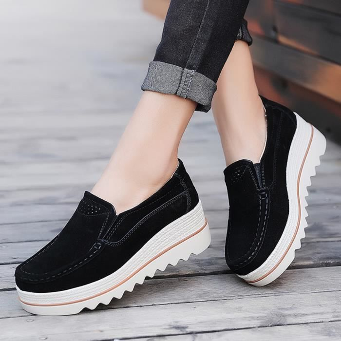 Femmes En Décontractée Muffin Sneakers Noir Flats Creepers Mocassins Cuir Chaussures qw7HrOWqI
