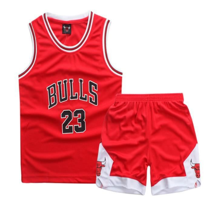 Garçon Fille NBA Michael Jordan # 23 Chicago Bulls Short de Basket Ball Maillots Uniforme de Basket Ball Top & Shorts