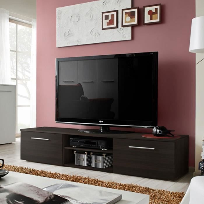 paris prix meuble tv design bono ii 180cm weng noir achat vente meuble tv paris prix. Black Bedroom Furniture Sets. Home Design Ideas