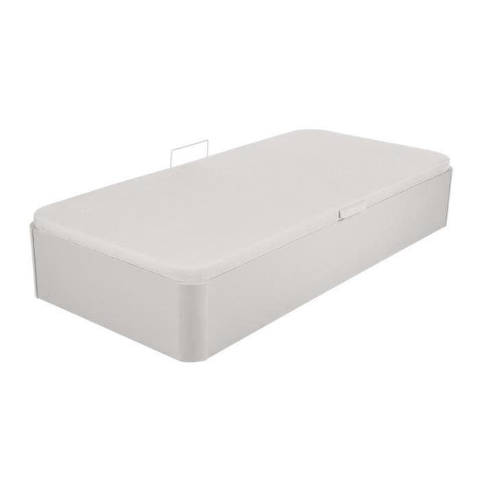 STRUCTURE DE LIT Lit coffre 90*190 Simili Cuir Blanc - KANGOUROU -