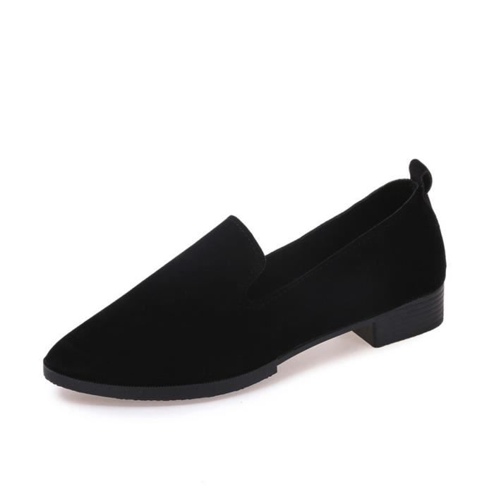 Femmes Mesdames Slip On Flat Sandals Chaussures de sport Solid Fashion Loafer Noir