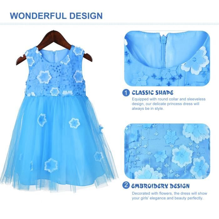 Okidso Princess Dress Party Costumes Flower Girl Dress Sundress avec broderie, fleurs 3D, Design sans manches (110CM)
