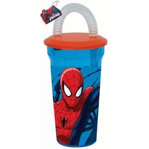 Verre à eau - Soda Gobelet + paille Spiderman Disney verre plastique
