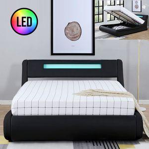 STRUCTURE DE LIT Lit design Julio avec coffre - Noir - 140x190