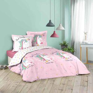 2-tlg Kinderbettwäsche Jersey Blau Sterne mit Rüsche 100/% Baumwolle 100x135cm
